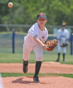 Kid pitching baseball