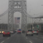 A rainy September day at the George Washington Bridge in New York.