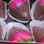choc covered strawberries closeup